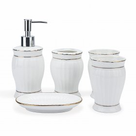 5 PCS/LOT Bathroom Accessories/Wash Set White Ceramic Soap Dispenser, Toothbrush Holder, Soap Dish and Tumbler Bath Organizer