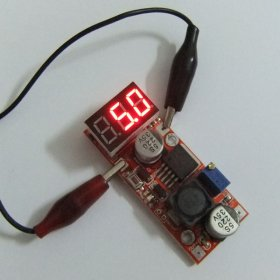 Adjustable Power Supply DC 4.5-28V to 1.3-25V 1.5A 15W LM2596 Step Down Converter with with Red LED Voltmeter