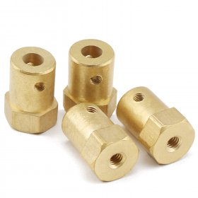 Hex Coupling with Screws 5mm Shaft Motor Flexible Coupling Brass Connector for Motor/Robot /small intelligent car etc
