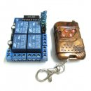 Mini Wireless Remote Controller 12V 4 Channel Switch Board Self-Lock Remote Control
