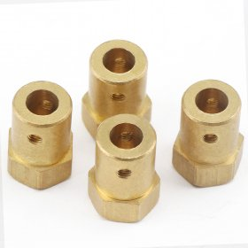 Brass Connector 6mm Hex Coupling with Screws Flexible shaft coupler for Motor/Robot /small intelligent car etc