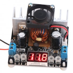 200W NC Power Supply Module/Adapter DC 6~40V to 0~38V 8A Buck Adjustable Voltage Regulator/Constant Volt Driver Module With Voltmeter/Fan