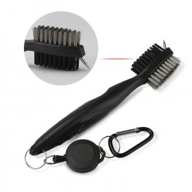 2 PCS/LOT Cleaning Brush Multi-Purpose Double-Sided Cleaning Tool With Retractable Reel for Golf Club Ball Cleaning