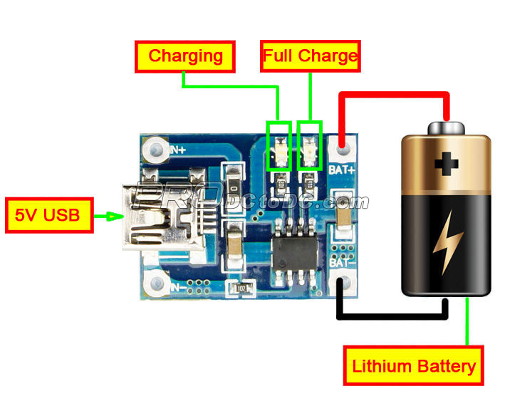 mini usb 5v 1a lithium battery charger charging board for diy mobile rh prodctodc com motorola mini usb charger pinout mini usb charger circuit